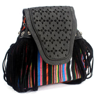 Venetian - Black Stripy With Fringe