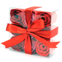 1x Set of 9 Soap Flowers - Red Roses