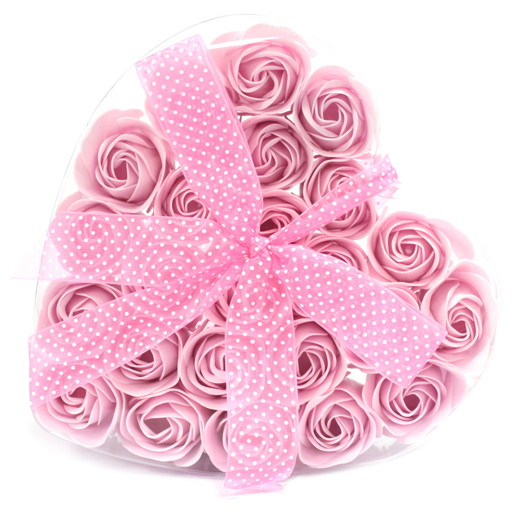 1x Set of 24 Soap Flower Heart Box - Pink Roses