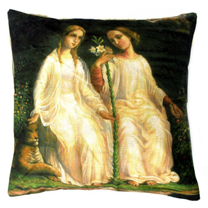 Vintage Cushion Cover-Two Angels