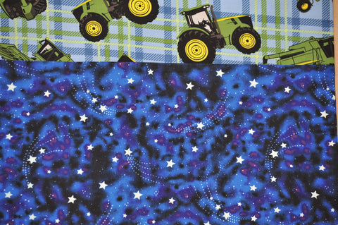 Tractors with Blue Cotton Stars