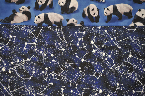 Pandas with Blue Cotton Constellations