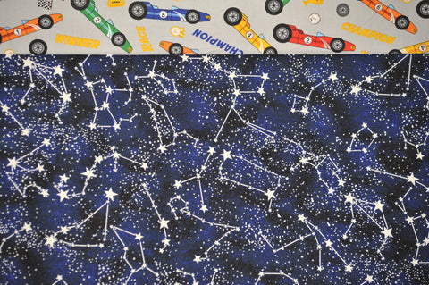 Racecars with Blue Cotton Constellations