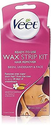 Veet 20ct Face & Bikini wax strips