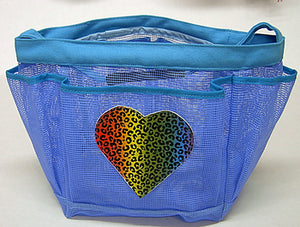 Leopard Heart Mesh Shower Caddy