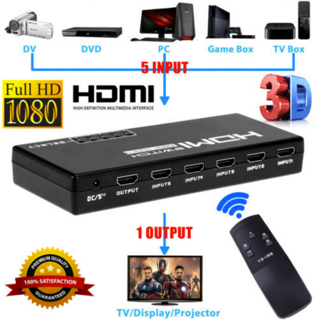5 Port HDMI Switch Splitter- 5 Devices to 1 Display