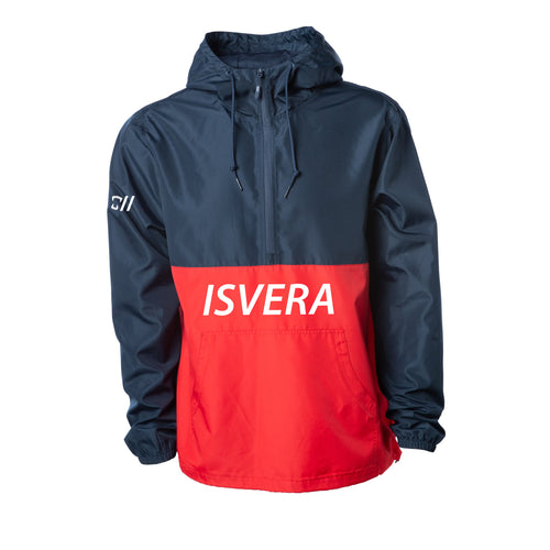 ISVERA STORM I ANORAK JACKET // NAVY & RED