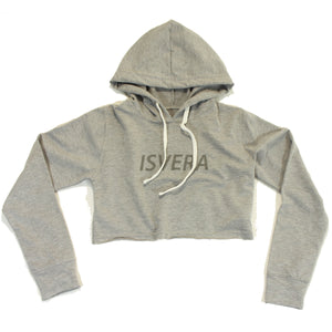 ISVERA WOMEN'S CROP HOODED SWEATSHIRT // ATHLETIC GREY
