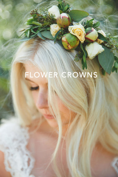 Tofino Wedding Flowers - Wild Bloom Floral Design - platinum blonde bride in floral hair piece with giant rose buds in cream and peach palette