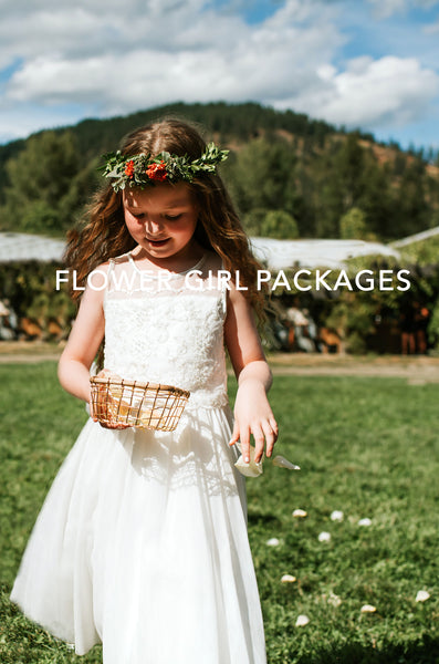Tofino Wedding Flowers - Wild Bloom Floral Design - little flower girl in white dress sprinkling white petals from basket down grassy aisle