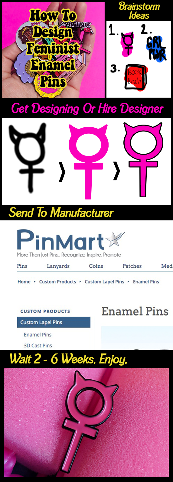 how to make feminist enamel pins