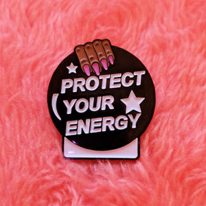 Protect Your Energy Crystal Ball Pin