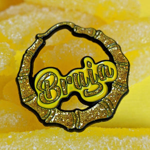Bruja Glitter And Gold Doorknocker Earring Pin