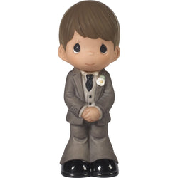 Mix and Match Wedding Cake Topper/Groom Figurine, Brown Hair, Medium Skin Tone  - Country N More Gifts