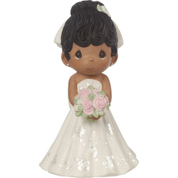 Mix and Match Wedding Cake Topper/Bride Figurine, Black Hair, Dark Skin Tone  - Country N More Gifts