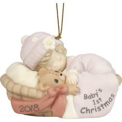 2018 - Dated Porcelain Ornament (Girl) - Baby's First Christmas  - Country N More Gifts