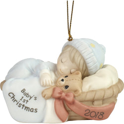 2018 - Dated Porcelain Ornament (Boy) - Baby's First Christmas  - Country N More Gifts