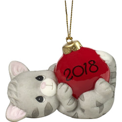 May Your Holidays Be Purr-fect 2018 Dated Porcelain Ornament  - Country N More Gifts