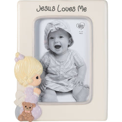 Jesus Loves Me - Ceramic Photo Frame (Girl)  - Country N More Gifts