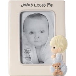 Jesus Loves Me - Ceramic Photo Frame (Boy)  - Country N More Gifts