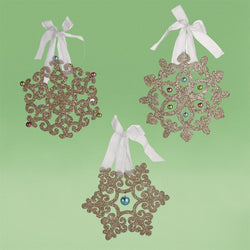 Dream Glittered Snowflake Ornament, Set of 3  - Country N More Gifts
