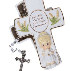 Blessings On Your First Holy Communion - Communion Girl Covered Box With Rosary  - Country N More Gifts