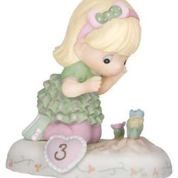 03 Age Three Blonde - Girl With Flowers Age 3  - Country N More Gifts