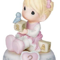 02 Age Two Blonde - Girl With Blocks Age 2  - Country N More Gifts