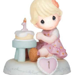 01 Age One Blonde - Girl With Cake Age 1  - Country N More Gifts
