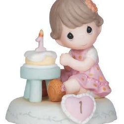 01 Age One Brunette - Girl With Cake Age 1  - Country N More Gifts