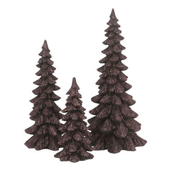 Brown Holiday Trees Set of 3  - Country N More Gifts