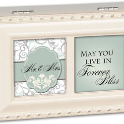 Mr and Mrs - Forever Bliss - Petite Ivory Music Box  - Country N More Gifts