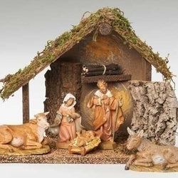 Italian Nativity Stable Including  5 Piece Figurine SET  - Country N More Gifts