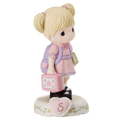 05 Age Five Blonde - Girl With Books Age 5  - Country N More Gifts