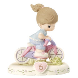 06 Age Brunette - Girl On Bicycle Age 6 Six - New Style  - Country N More Gifts