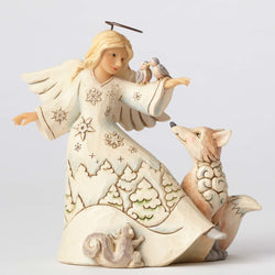 White Woodland Angel with Birds  - Country N More Gifts
