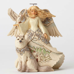 White Woodland Angel with Husky  - Country N More Gifts