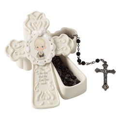 This Is The Day The Lord Has Made - Boy Cross Box With Black Rosary  - Country N More Gifts