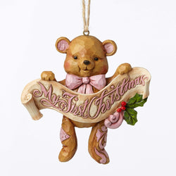 First Christmas Pink Bear Ornament  - Country N More Gifts