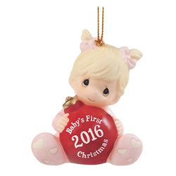 2016 Dated Babys First Christmas Girl Ornament  - Country N More Gifts