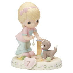 07 Age Blonde - Girl With Kitten And Toys Age 7 Seven - New Style  - Country N More Gifts