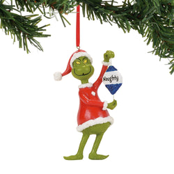 Grinch Naughty Or Nice Ornament - Dr Seuss  - Country N More Gifts