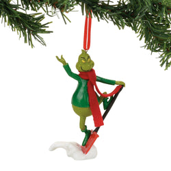 Grinch Shovel-Boarding Fun Ornament - Dr Seuss  - Country N More Gifts