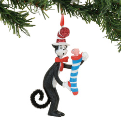 Cat Striped Stocking Ornament - Cat In The Hat  - Country N More Gifts