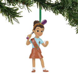 Brownie Playing Softball Ornament  - Girl Scouts  - Country N More Gifts
