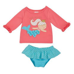 Mermaid Rash Guard & Bikini Set | Girls' Swimsuit | 2T-5T  - Country N More Gifts