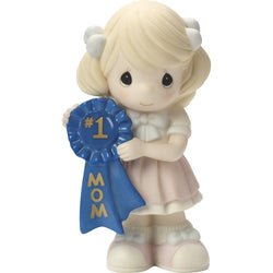 1 Mom - Girl Holding Number one Mom Blue Ribbon  - Country N More Gifts