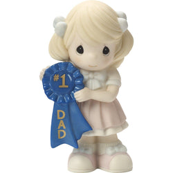 1 Dad - Girl Holding Number one Dad Blue Ribbon  - Country N More Gifts