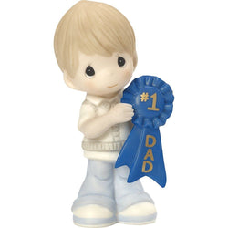 1 Dad - Boy Holding Number one Dad Blue Ribbon  - Country N More Gifts