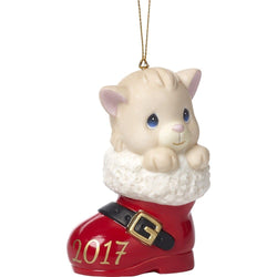Have A Pawsitively Soleful Christmas Dated 2017, Bisque Porcelain Ornament, Cat  - Country N More Gifts